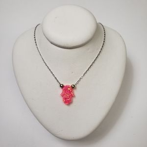Brand New Sterling Neon Pink Opal Hamsas Necklace